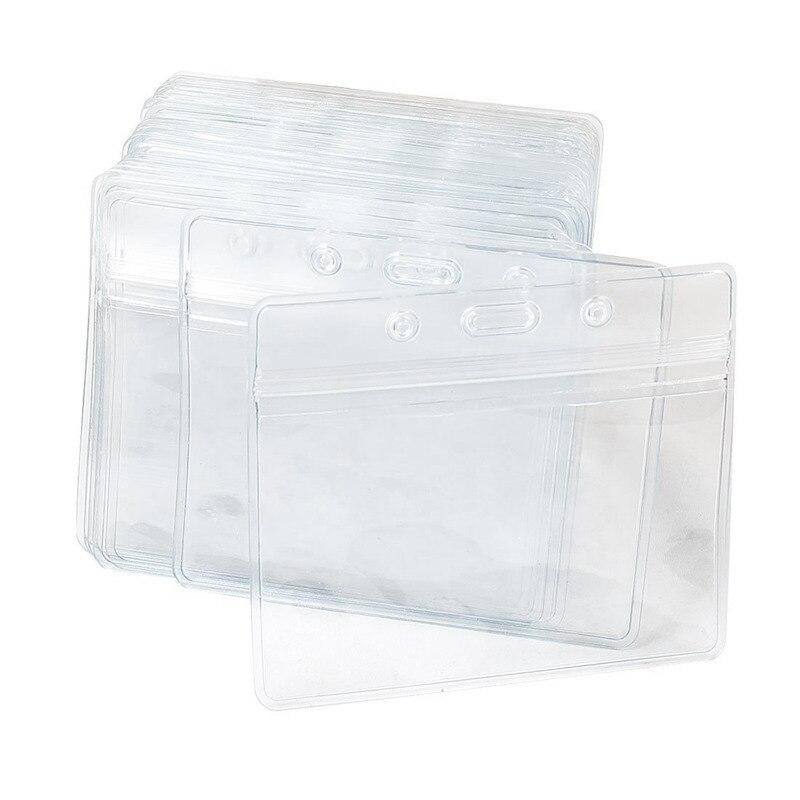 etichetta per nome Set di carte Supporti Badge in plastica trasparente scheda di identificazione 50 orizzontale