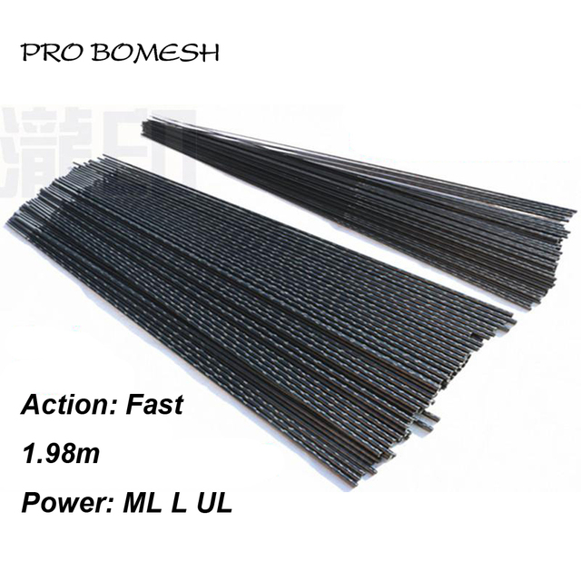 Pro Bomesh 2 Blanks 1.98m UL L ML 2 Section 24T Carbon Fiber Fishing Rod Blank Lure Fishing DIY Rod Building Component Repair