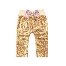 Pudcoco/Новинка года; брендовые длинные штаны с блестками для новорожденных девочек; блестящие леггинсы с бантом; брюки