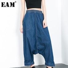[Eam] 2019 nova primavera moda feminina maré azul solto cintura elástica tamanho grande personalidade calças de brim harém selvagem la883