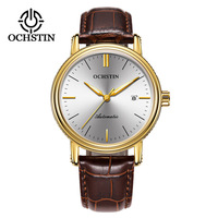 2018 Swiss Authentic Men'S Watch Automatic Mechanical High End Watch Waterproof Leather Strap Business Casual Watch