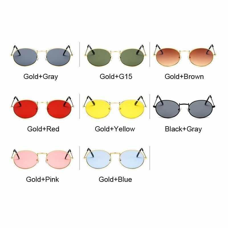 Retro Oval Kacamata Wanita 2019 Mewah Merek Desain Vintage Kecil Hitam Merah Kuning Warna Matahari Kacamata Perempuan Oculos UV400
