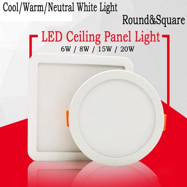 6/8/15/20W LED Recessed Ceiling Panel Lights Fixture Hole Adjustable Down Lamp
