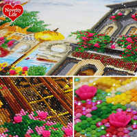 5D Diy Diamond Painting Cross Stitch Coffee House Scenery Diamond Embroidery Crystal Round Special Shaped Stones Mosaic Picture