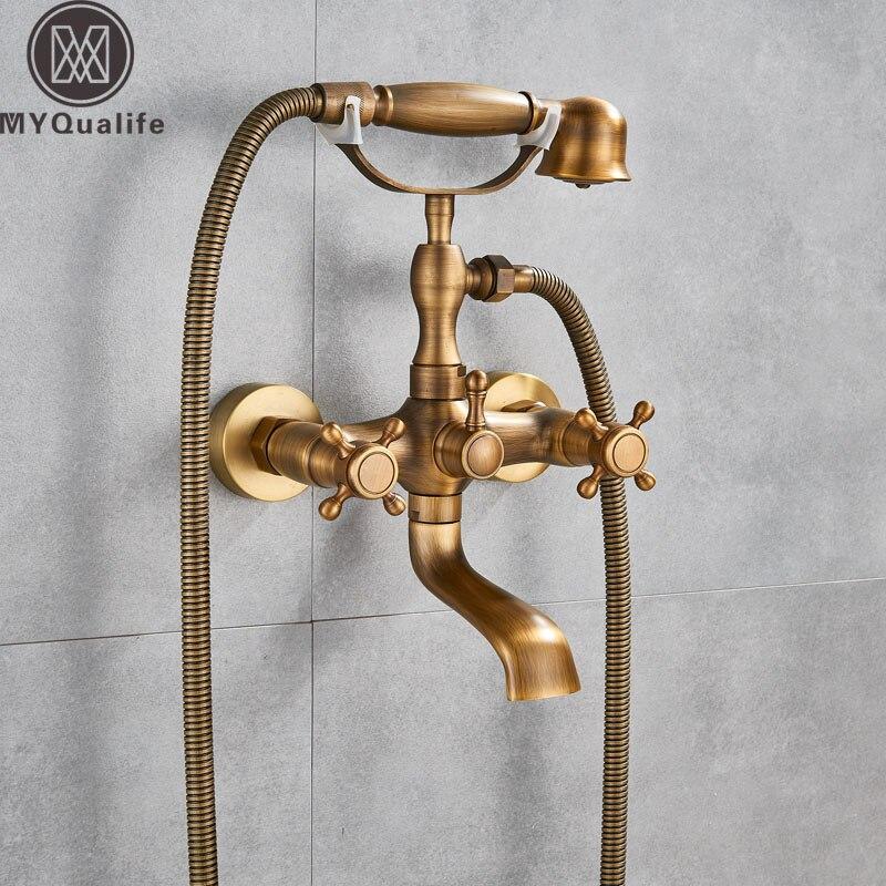 Antike Messing Badewanne Wasserhahn Wand Montiert Swive Auslauf Badewanne Mischbatterie Mit Handbrause Handheld Bad Dusche Mixer Wasser Set Billigverkauf 50%