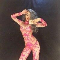 Новые женские сексуальные сверкающие кристаллы комбинезон с камнями рождественские костюмы сценический для певца розовый Gogo танцевальный