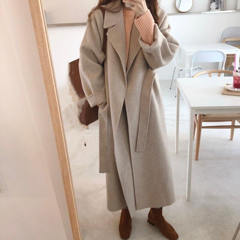 Femmes Ceintures Longue Coupe-Vent trench vêtements d'extérieur décontracté Turn-Down Col manteau en laine Automne Hiver à manches longues Mélanges Manteau Manteaux