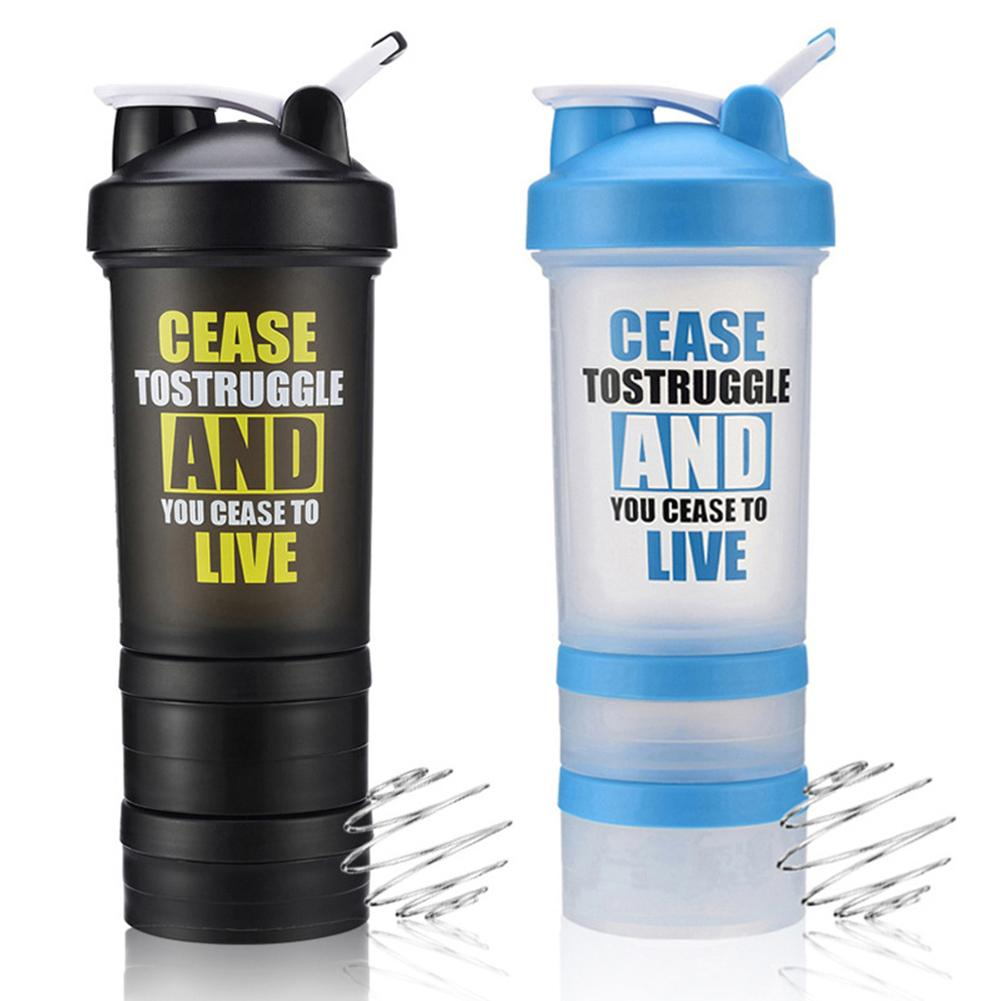 New Three Layers Portable Plastic Bottle Protein Powder Shaker Bottle Sports Fitness Shaker Cup Running Riding Bottle Unisex|Sports Bottles| |  - title=