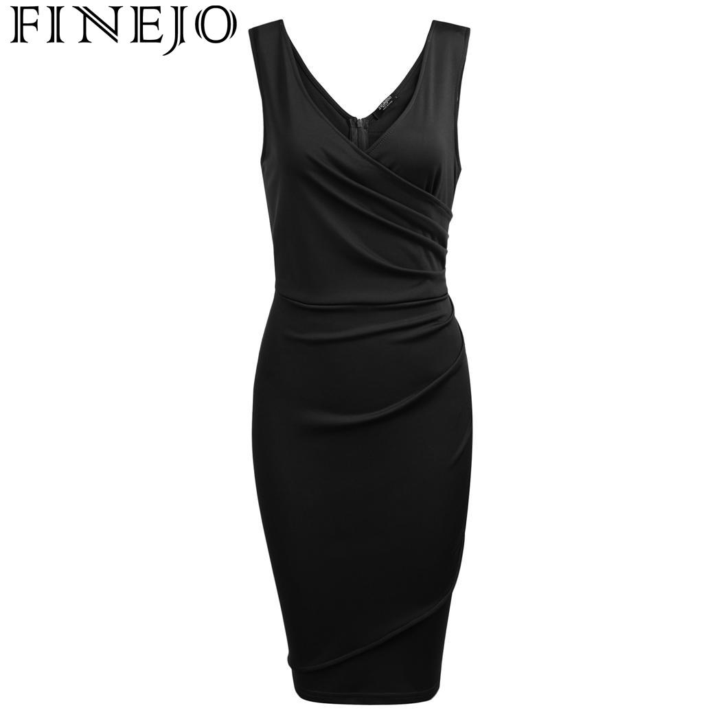 Women Sexy Wrap Front V Neck Sleeveless Ruched Bodycon Slim Pencil Dress Ladies Vestidos in Dresses from Women 39 s Clothing