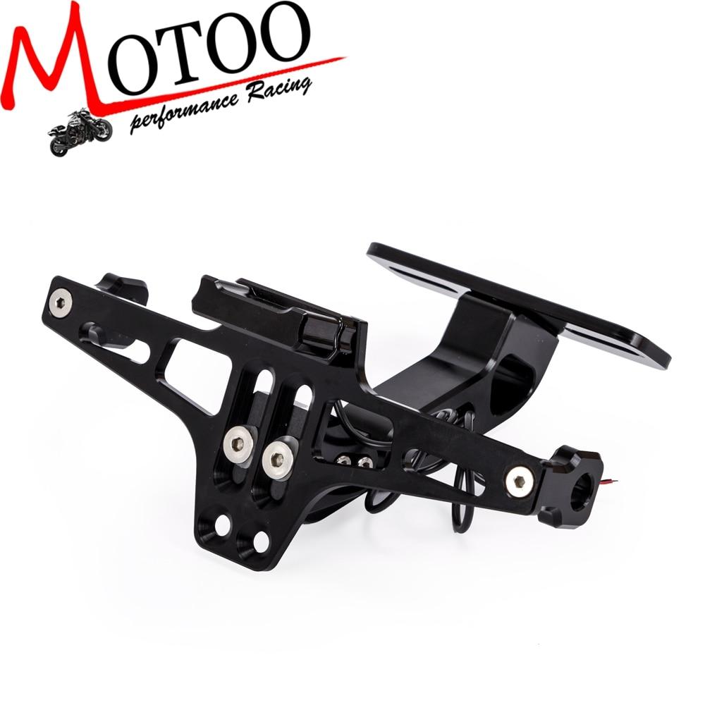 Universal CNC Aluminum Motorcycle Adjustable Angle Rear License Number Plate Mount Holder Bracket With LED Light For Z750 R3