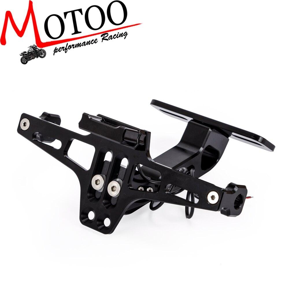 Motoo-universal cnc alumínio da motocicleta traseira suporte de montagem da placa de licença com luz led branca