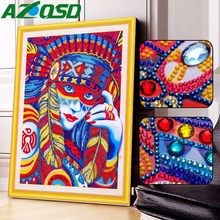 AZQSD DIY Diamond Embroidery Portrait Special Shaped 5D Diamond Painting Women Diamond Mosaic Picture Of Rhinestones(China)