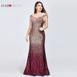 Image 2 - Plus Size 2020 Prom Dresses Long Ever Pretty EP08999 Sexy Mermaid Sequined Sparkle Red Prom Gown Elegant Special Occasion Gowns