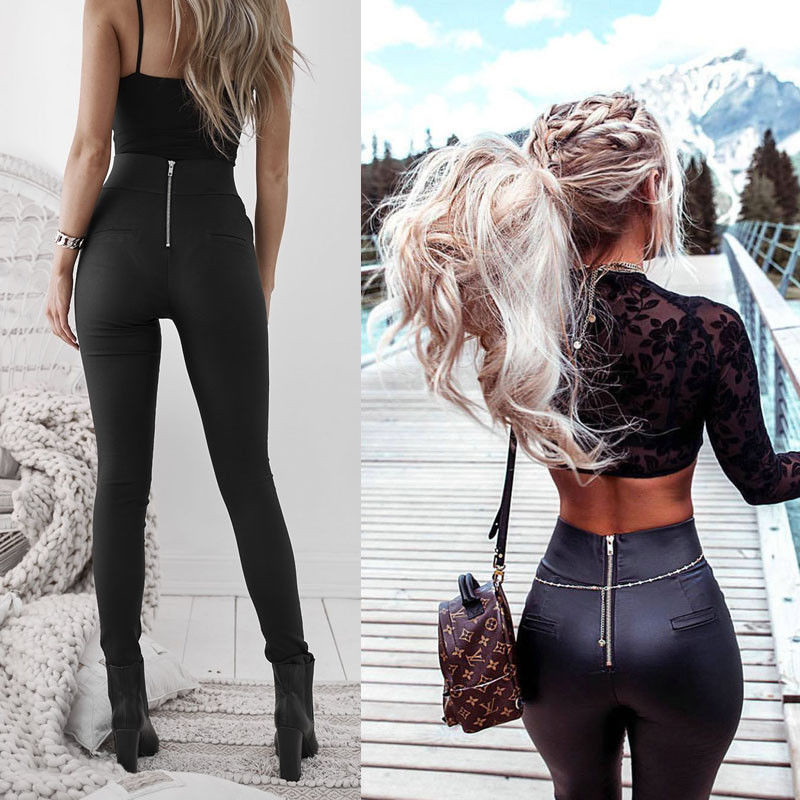 Brand New Fashion Women Clothes  PU Pants Skinny Faux Leather Stretch High Waist Trousers Black Pants New Fashion Style