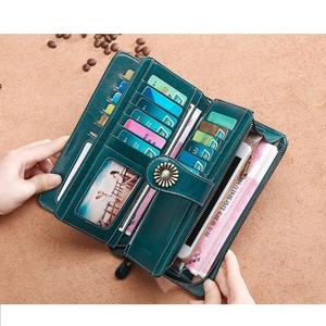 Image 5 - Fashion Women Clutch New Wallet Cow Leather Female Long Wallet Women Zipper Purse Strap Coin Purse For Iphone 7