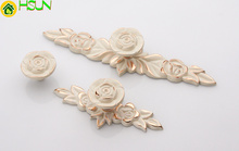 2 pcs Rose Drawer Knobs Lvory White Gold Flower Pull Handle Cabinet Kitchen Door Pulls Decorative Hardware
