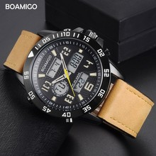BOAMIGO Brand Sport Watch For Men Luxury Casual Dual Display Quartz Digital Waterproof Auto Date Leather Wristwatches