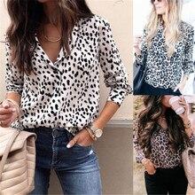 Sexy Women Leopard Print Shirt Blouses Tops Long Sleeve V-Neck Spring Autumn