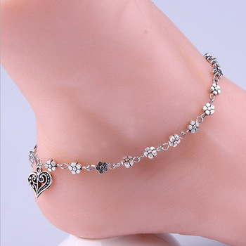 New Fashion Foot Chain Tibetan Silver Hollow Plum Daisy Flowers Heart-Shaped Anklet For Women
