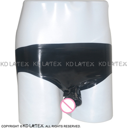 Zwarte Latex Slips Met Half Peniskoker Open Rubber Ondergoed Shorts Bottoms Plus Size DK-0014