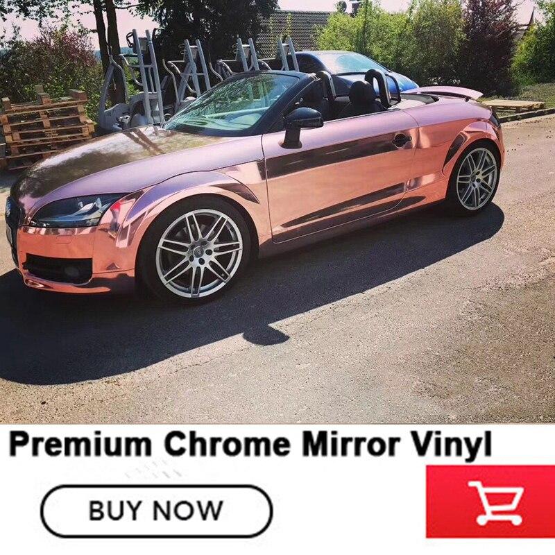 152 cm x 20 m Rose or Chrome Miroir Vinyle Wrap Film Autocollant De Voiture Étanche UV Protégé Auto Decal Sheet livraison gratuite
