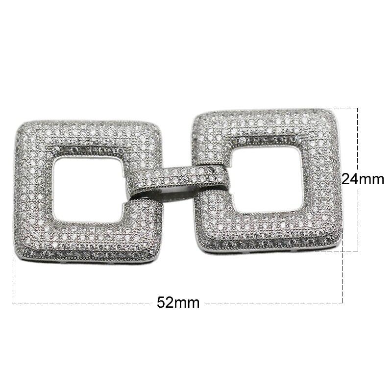 Beadsnice 925 argent Sterling mode fermoir carré incrusté Zircon plier fermoirs pour la fabrication de bijoux bricolage - 3