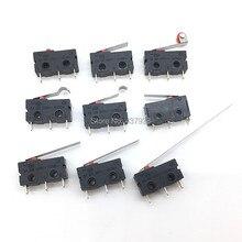 10PCS Mini Micro Switch Roller ARC LEVER SPDT Snap Action 3A 250V AC 5A 125V NC NO C ด้วยรอก 3 Pins จังหวะจำกัด