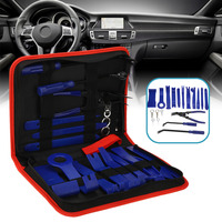19pcs/Set Portable Household Hand Tools Kit Car Audio Trim Removal Tool Set Pry Bar Panel Door Interior Hand Tool Blue/Red