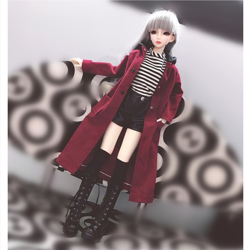 Doll Clothes Outfits For Dolls Accessories,Fashion Doll Coat Sexy Leather Pants T-shirt Doll Clothing For 1/3 1/4 1/6 BJD DD MSD