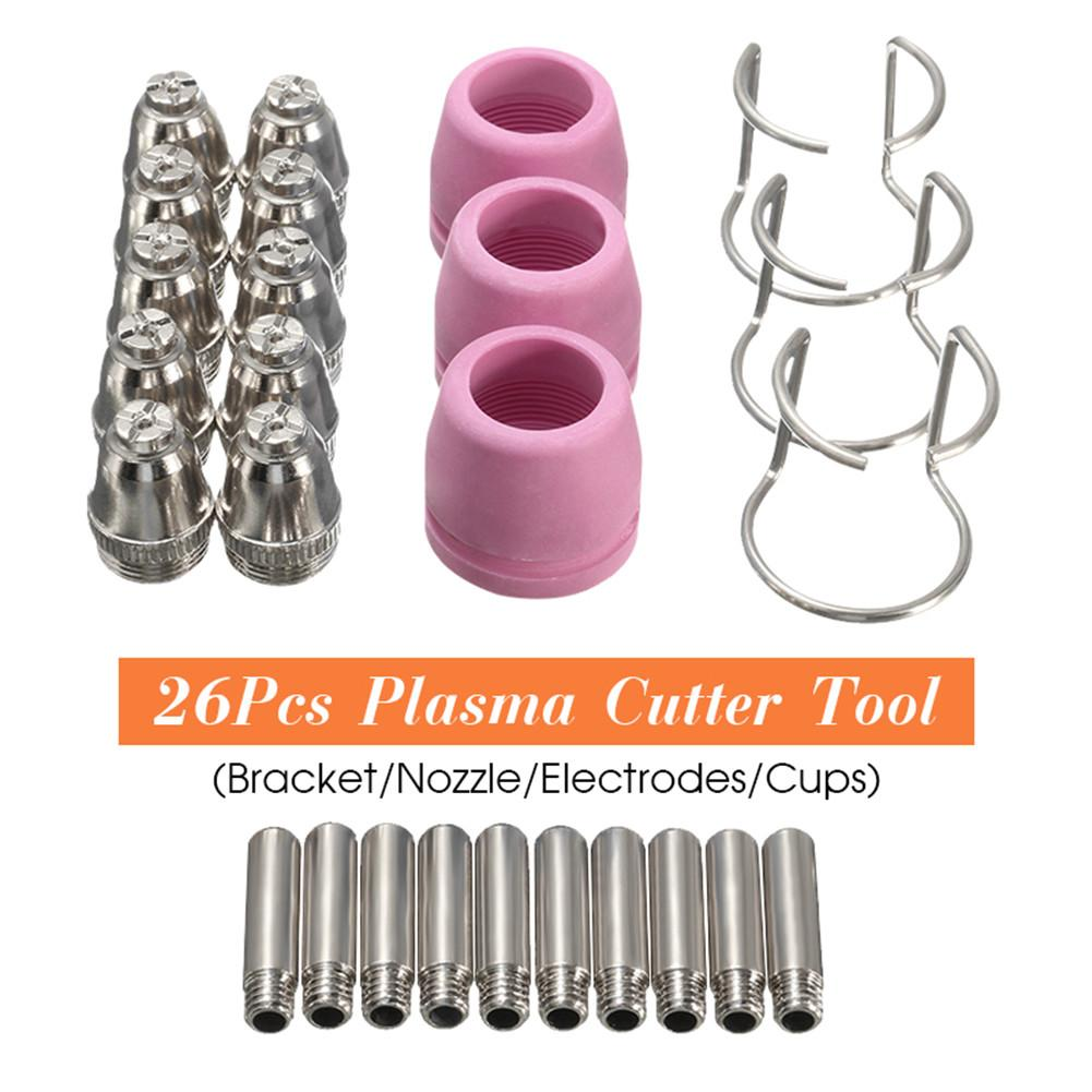 26PCs PL60 Electrode Plasma Cutter Consumables Kit Cutting Torch Tip Nozzle For SG-55 AG-60 WSD-60P Arc Welding Torch Tools26PCs PL60 Electrode Plasma Cutter Consumables Kit Cutting Torch Tip Nozzle For SG-55 AG-60 WSD-60P Arc Welding Torch Tools