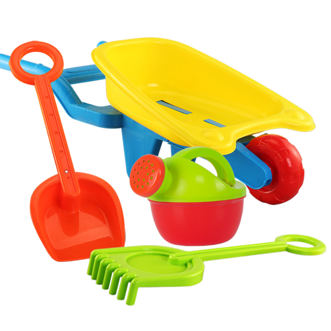 4Pcs Children Pretend Play Beach Sand Toy Set With Trolley Watering Can Shovel Rake Water Fun For Children Kids - Wheelbarrow L