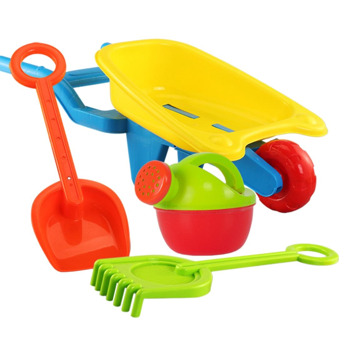 4Pcs Children Pretend Play Beach Sand Toy Set With Trolley Watering Can Shovel Rake Water Fun For Children Kids - Wheelbarrow L
