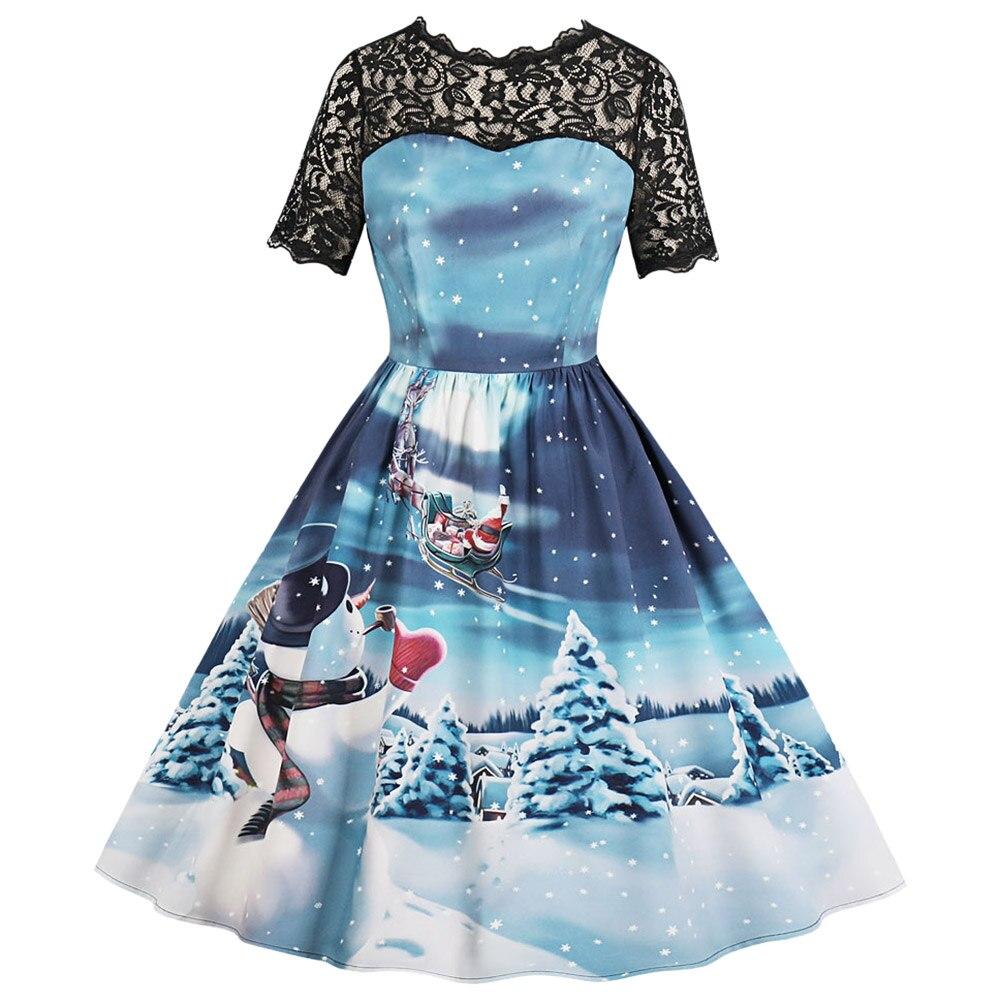 Wipalo 2018 New Fashion Round Collar Short Sleeve Spliced Lace Christmas Print A-Line Vintage Dress Retro Mid-Calf Vestidos 2XL