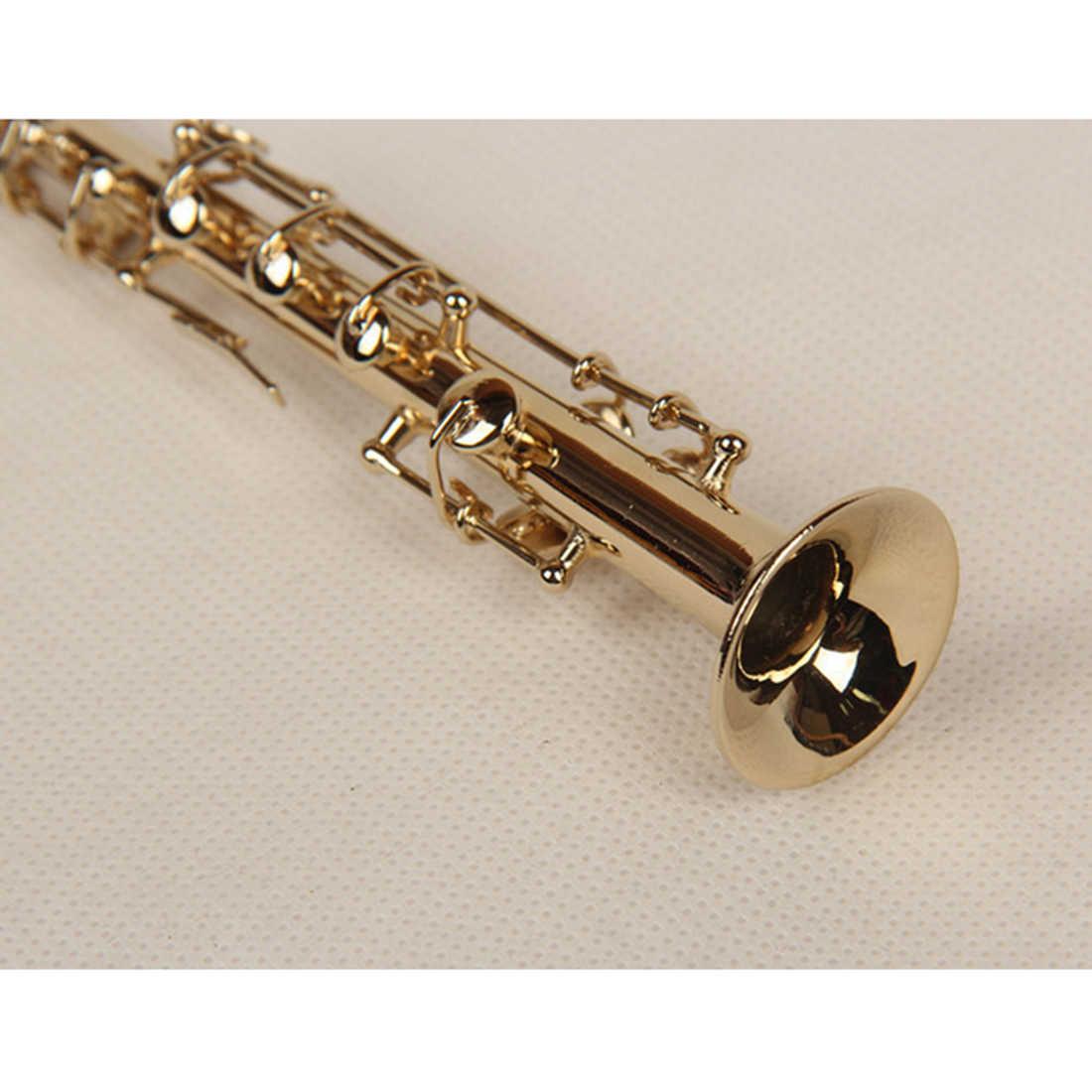 16 Cm Mini Alat Musik Model High-Pitched Saksofon Instrumen Hiasan Perunggu Berdiri Hanya untuk Dekoratif