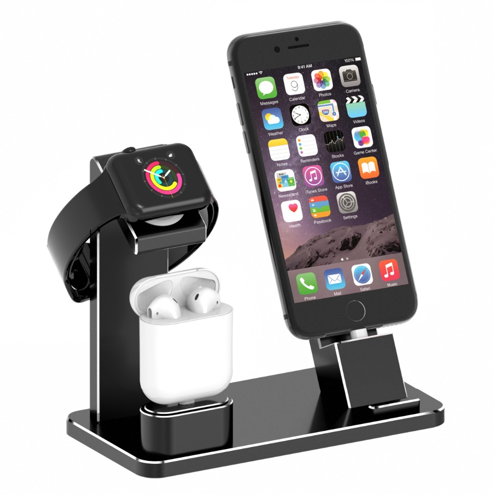 XUNMEJ Watch Stand for Apple iPhone Charging Dock Aluminum 4 in 1 AirPods Charging Stand Accessories Station Holder for Apple WaXUNMEJ Watch Stand for Apple iPhone Charging Dock Aluminum 4 in 1 AirPods Charging Stand Accessories Station Holder for Apple Wa
