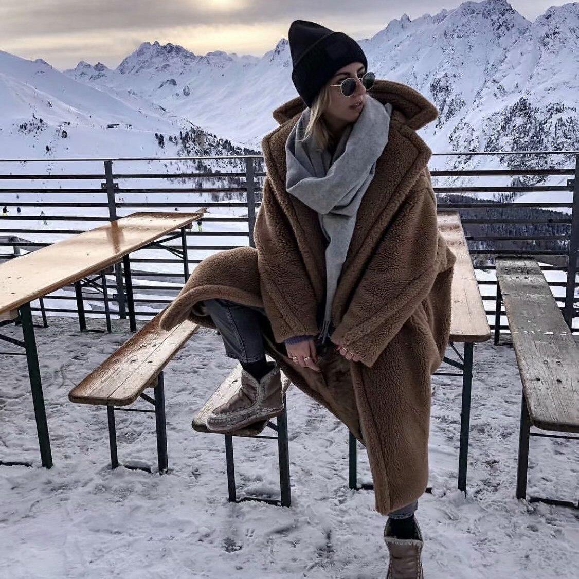 Laine Long Marron rouge Mélanges Femme Lâche Décontracté Solide D'hiver D'agneau Manteau En Femmes IxPF5