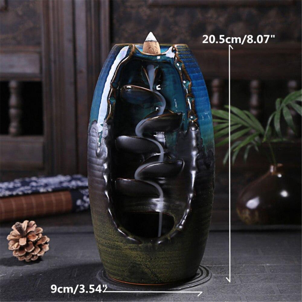 Multi-camadas de refluxo Mesa Ornamento de Cerâmica Queimador de Incenso de sândalo Cone Titular incence Fumaça queimador Incensário de Back-fluxo de Artesanato