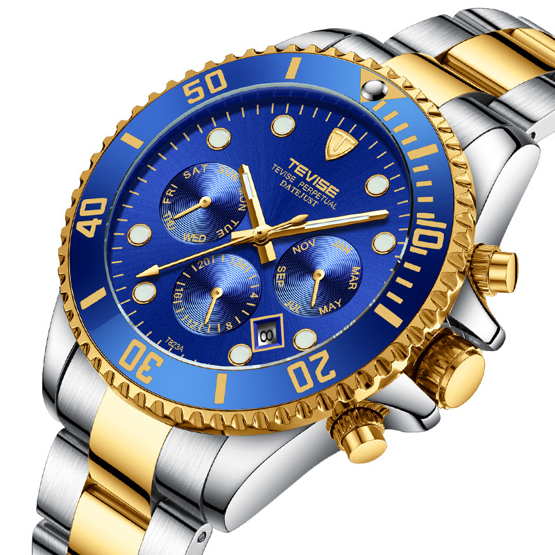 Tevise Top Brand Men Mechanical Watches Automatic Business Stainless steel Watch Fashione Luxury Gold Clock Relogio Masculino tevise top brand business mechanical watches stainless steel band wristwatches men sports gold watch waterproof black white gift