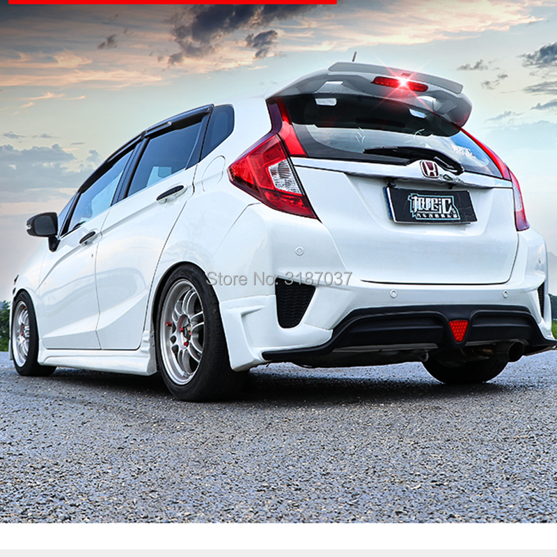 For <font><b>Honda</b></font> GK5 <font><b>Fit</b></font> / Jazz 2014 <font><b>2015</b></font> <font><b>2016</b></font> 2017 ABS Plastic Unpainted Color Rear Spoiler Wing Trunk Lid Cover Car Styling 1Pcs image