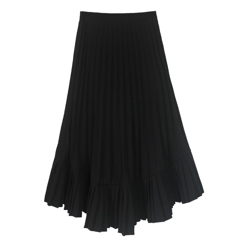 E354 De Péndulo Irregular Las Nuevo Falda Diseño Plisado Calidad Simple Alta Hembra Casual 2019 Black Para Retro Mujeres Negro 1nTSfYx