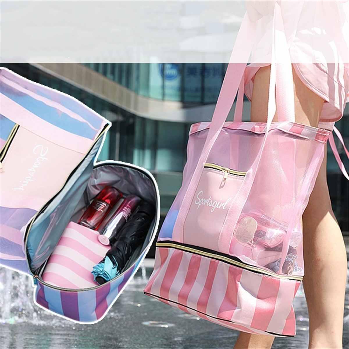 Waterproof Swimming Mesh Bag Beach Shoulder Bags Dry Wet Separate Handbags For Women Large Totes Handle Bag Yoga Storage Package
