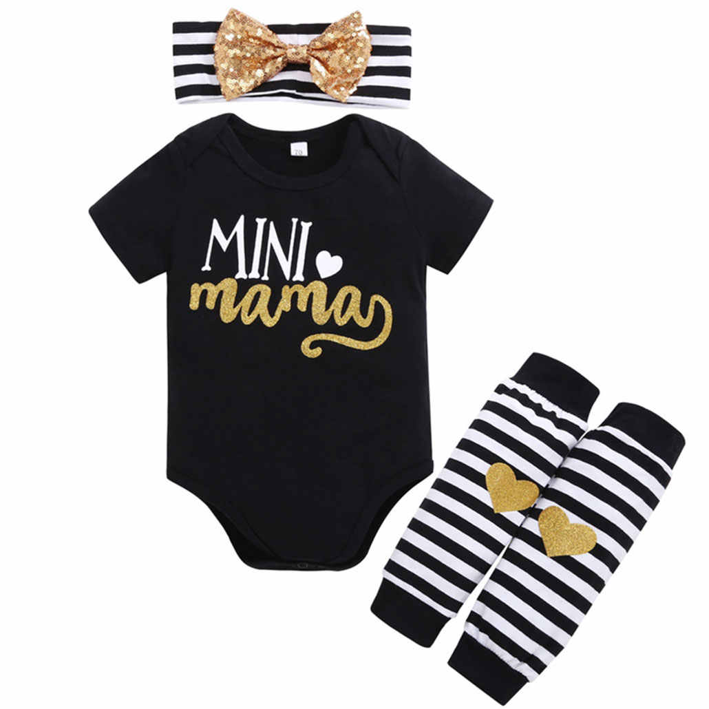 Комплект летней одежды для маленьких девочек из 3 предметов, боди с надписью «Happy Mather'S Day Mini Mama» черного цвета, повязка на голову, гетры, Одежда для младенцев