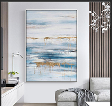 hand painted gold and blue white oil painting on canvas abstract pop art modern paintings wall for home decor