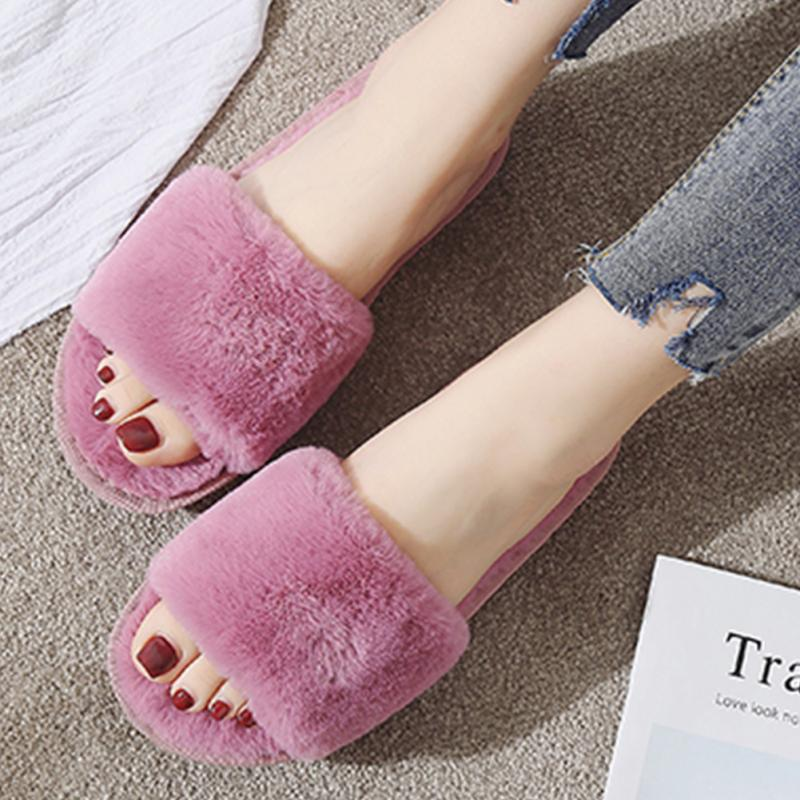 Autumn Winter Plush Slippers Women Warm Soft Shoes Home Indoor Slippers Faux Fur Slides Ladies Non-slip Mules Pink Black Zapatos faux fur padded pinstripe warm slippers