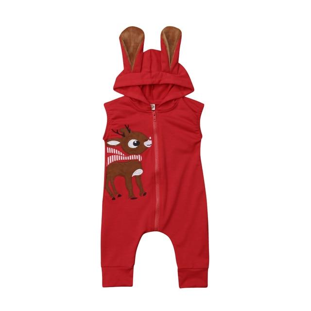 5d2bd17ef7a8 Christmas Brand New Newborn 3D Ear Hoodie Baby Girl Boy Sleeveless Zipper Xmas  Clothes Jumpsuit Romper Playsuit Set