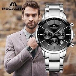Megalith homem relógios 2018 topo da marca de luxo relógio quartzo à prova dwaterproof água cronógrafo relógios analógicos para homem relógio relogio masculino