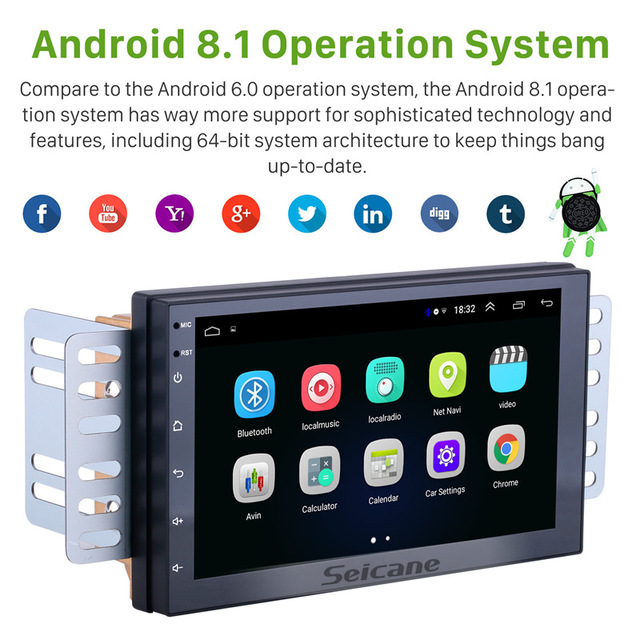 Seicane Android 8.1 7 cal Double Din uniwersalne Radio samochodowe GPS multimedialny jednostka odtwarzacz dla TOYOTA Nissan Kia RAV4 Honda VW Hyundai