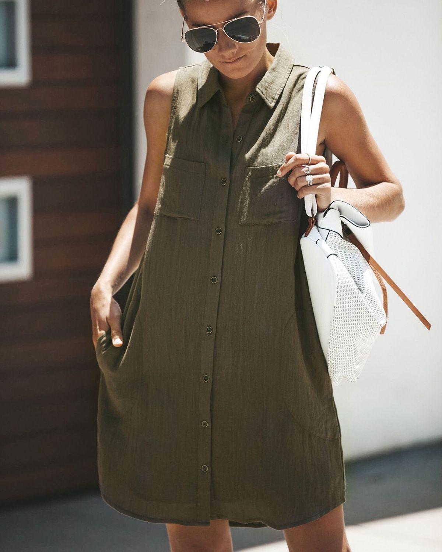 Fashion Women Ladies Dress Sleeveless Jumper Top Short Mini Casual Summer Vintage Loose 3 Colors Linen Women Pockets Tank Dress
