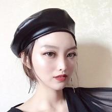 Meihuida boina mujer Retro imitación de cuero boinas sólido liso PU plana  sombreros pintor moderno estilo Cap 8477b3739bd