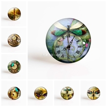 Dragonfly Butterfly Steampunk Art Picture 25mm Round Glass Cabochon Pendant Making Supplies for DIY Jewelry Accessories